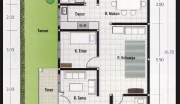 denah rumah 3 kamar ukuran