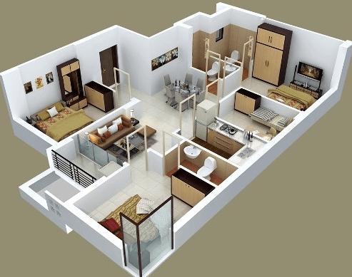99+ Denah Rumah Minimalis 3 Kamar Tidur Type 36 & Denah Rumah Minimalis 3 Kamar Tidur 3D Sederhana