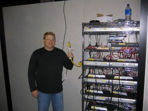 Rich Buchanan (RIP) setting up the CES 2006 Sling Media booth