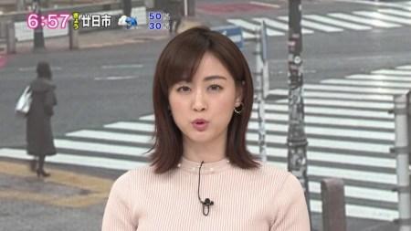 新井恵理那アナのニットおっぱい