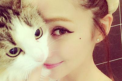 ダレノガレ明美と顔を寄せる猫