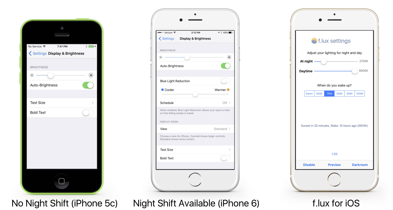 f.lux、iOS 9.3の「Night Shift」を歓迎し、ディスプレの色温度調整アプリ「f.lux for