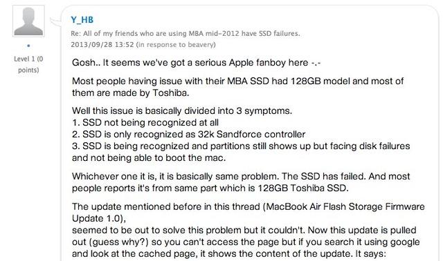 Air Mid 2012のSSD故障は3つの特徴がります