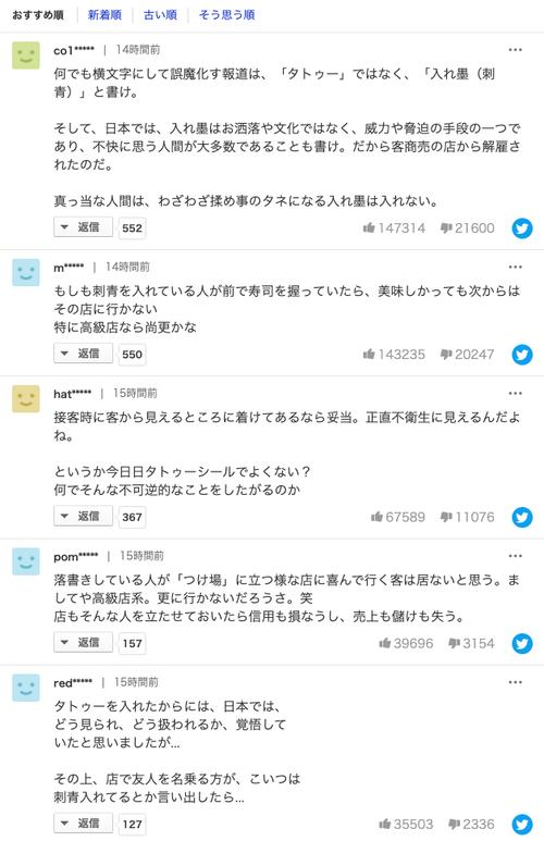 タトゥー情報ですし店解雇 賠償求め労働審判申し立て 東京地裁のヤフコメ