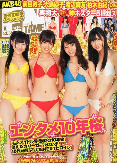 【AKB48】全盛期ってメンバーが色んな雑誌で水着グラビアやりまくってたよな?