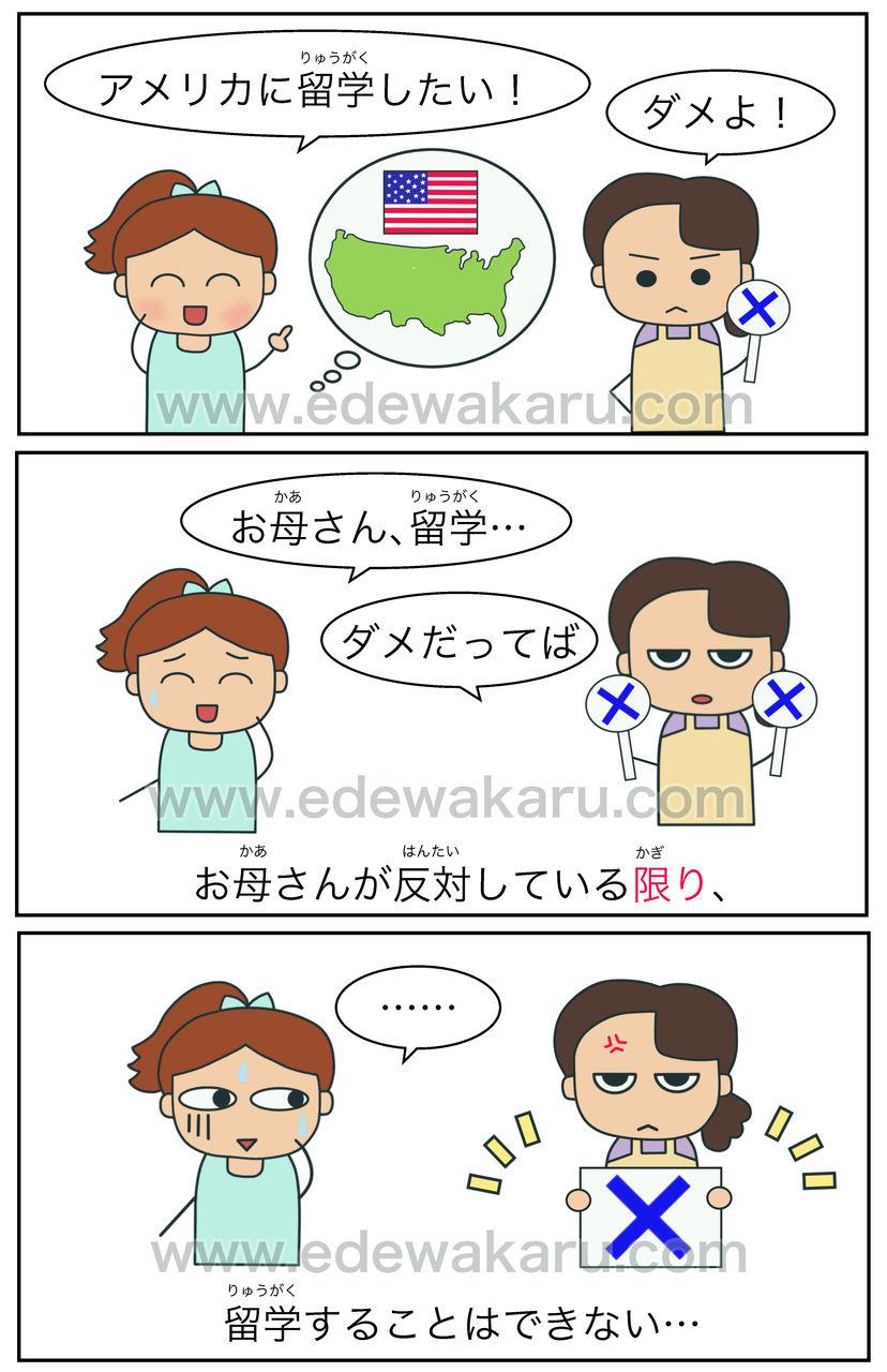 〜限り(は) 日本語能力試験 JLPT N2 : 絵でわかる日本語