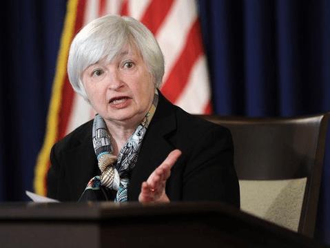 FOMCで会見するイエレンFRB議長
