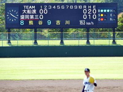 大船渡・佐々木球場表示「163キロ」にどよめき