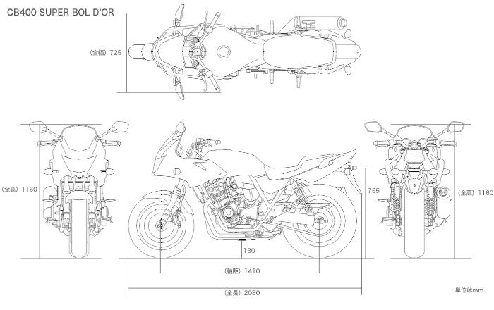 CBR400R(NC56)と400X(NC56)の散在禄 : CB400SF/SBのサイズ…