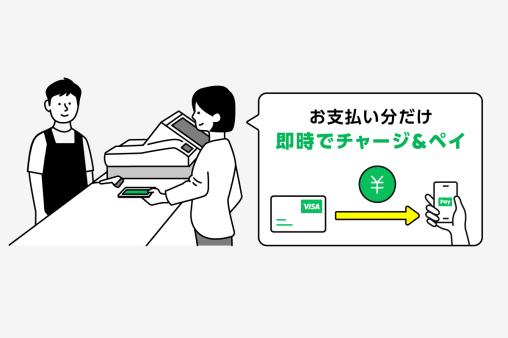 事前にチャージする必要なくLINE PAYが使えるのは、VISA LINE PAYクレジットカードだけ!