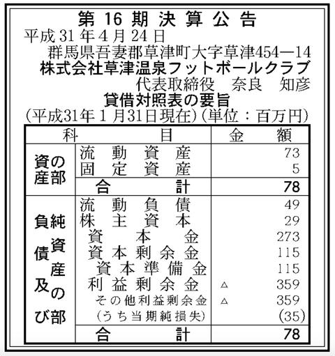 官報ブログ : ザスパ草津 運営の「草津温泉フットボールクラブ」決算公告(第16期)