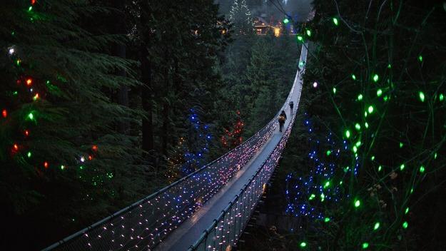 141227夜のキャピラノ吊り橋@カナダ バンクーバー