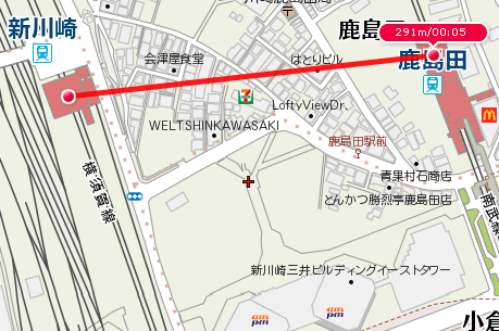 新川崎~鹿島田(最短距離)