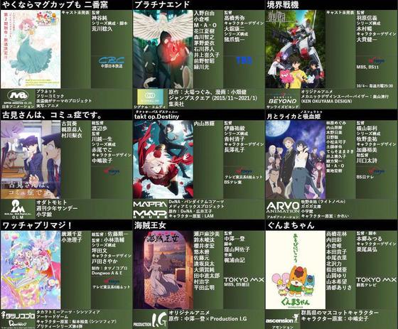 2021年秋アニメ一覧