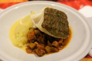 Roasted Cod Fish, ratatouille, crushed potatoes with olive oil and a beurre blanc sauce