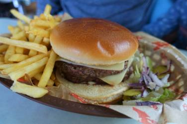 Beef and Cheese Burger with Fries and Pickles