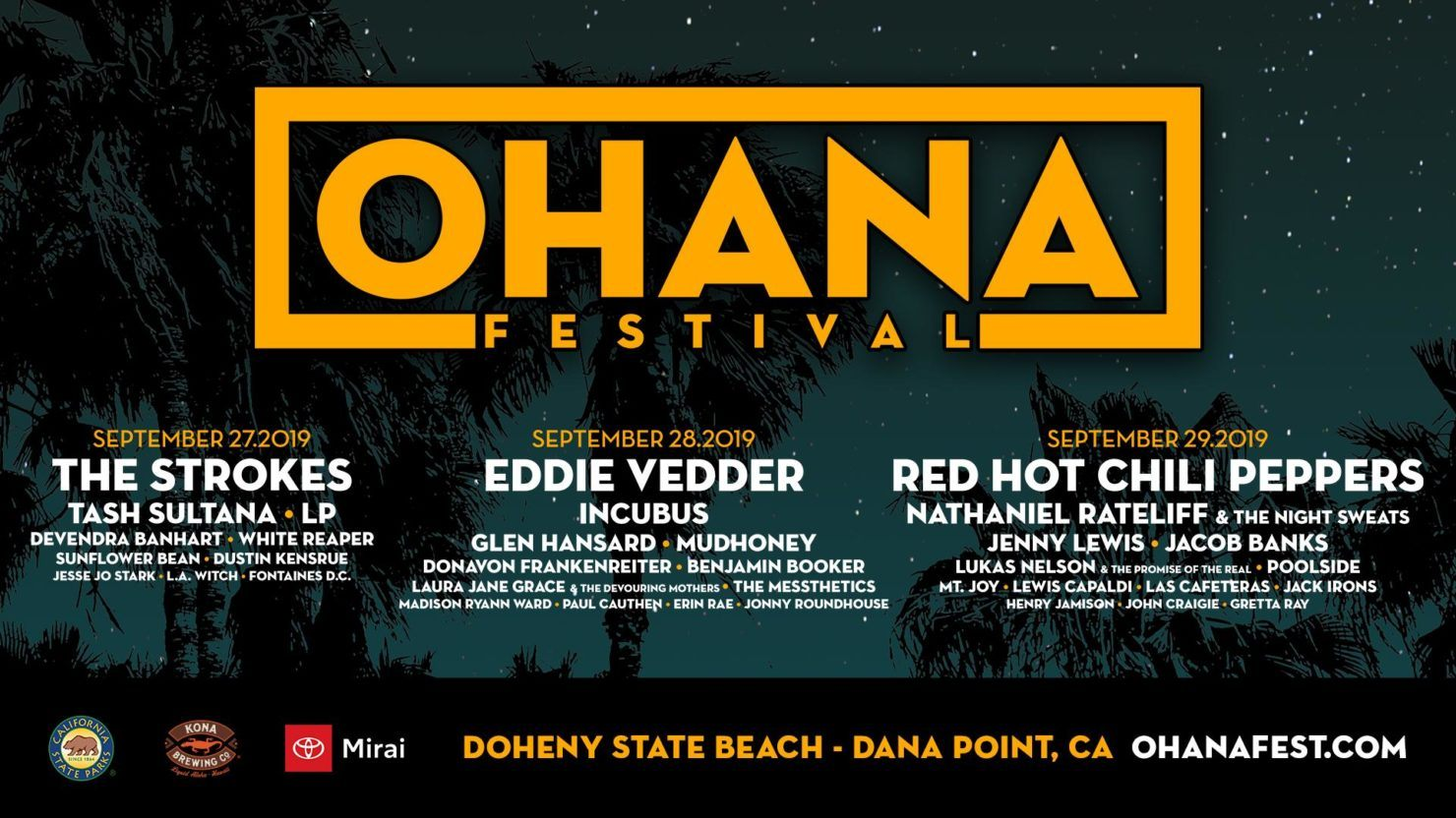 Ohana Festival Announces 2019 Lineup: Red Hot Chili Peppers, Eddie