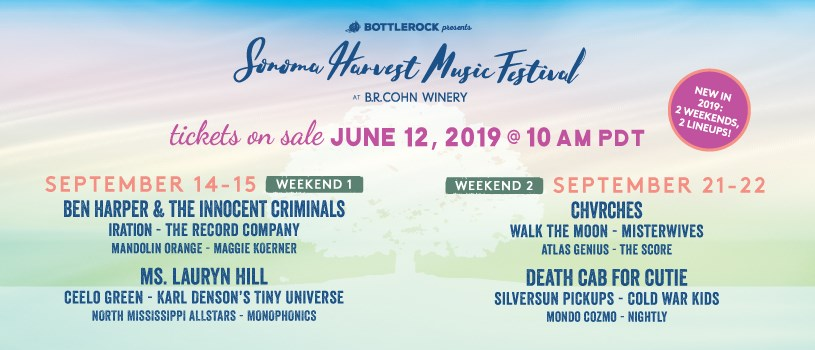 Sonoma Harvest Music Festival Announces 2019 Lineup: Ben Harper