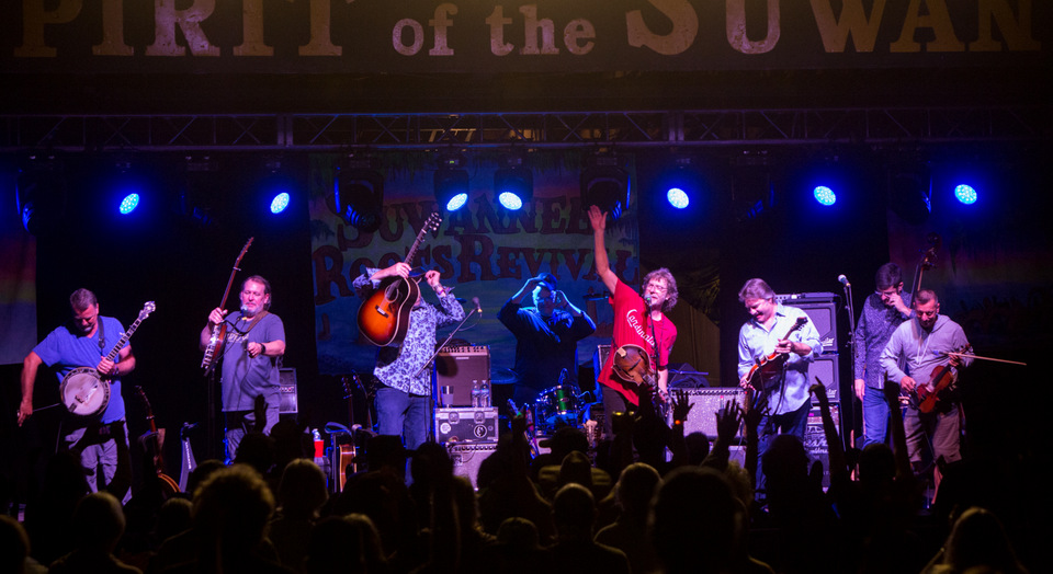 Watch Sam Bush Welcome Del McCoury & Kin At Suwannee Roots Revival [Videos]