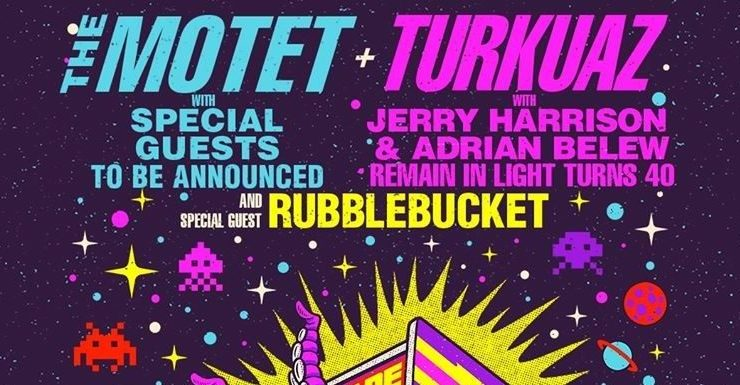 The Motet Turkuaz, The Motet Turkuaz Red Rocks, Red Rocks Amphitheatre, Turkuaz with Jerry Harrison and Adrian Belew Remain in light, Remain in light turns 40