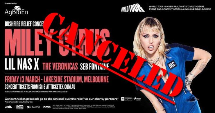 miley cyrus bushfire relief, miley cyrus cancels bushfire relief concert, world tour bushfire relief, benefit concert, australia benefit concert, coronavirus, COVID 19, miley cyrus coronavirus