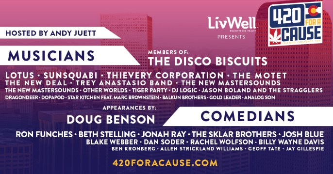 420 for a cause, 420 for a cause livwell, 420 livestream, 4/20 livestream event, livwell, disco biscuits, dance party time machine, ghost-live, doug benson, ron funches, lotus, sunsquabi, thievery corporation, the new deal, trey anastasio band