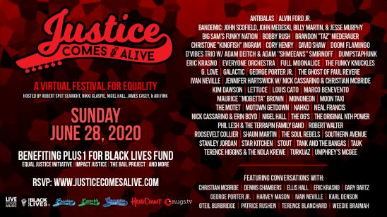 Justice Comes Alive, Justice Comes Alive stream, virtual music festival