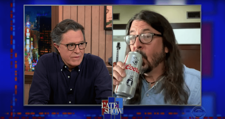 dave grohl, dave grohl stephen colbert, foo fighters colbert, dave grohl nandi bushell, dave grohl drum battle