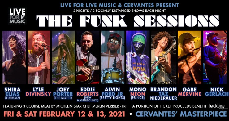 the funk sessions, funk sessions cervantes, funk sessions live for live music, live music colorado, socially distanced music in colorado
