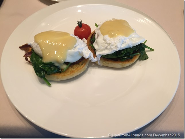 Eggs Benedict served at The Private Room