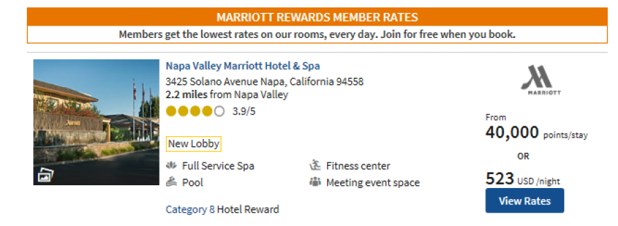 Mariott Napa Reward