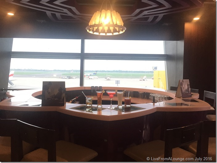 The lounge has a pretty backdrop to its bar, overlooking the apron
