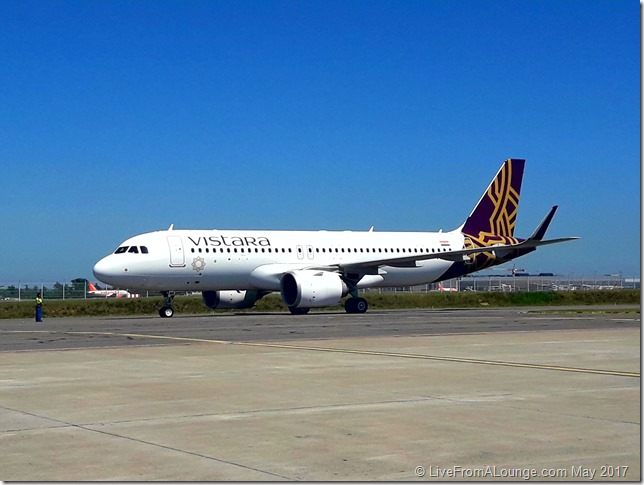 Vistara's VT-TNB after pushback for its ferry flight