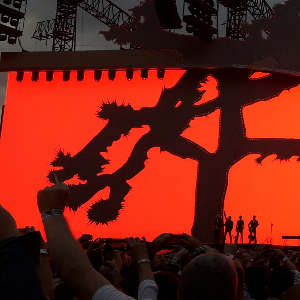U2 on stage at Croke Park under The Joshua Tree