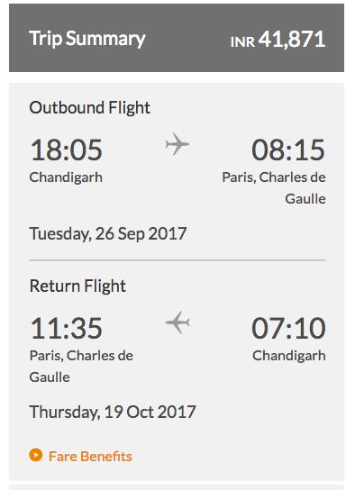 Jet Airways Chandigarh Paris Fares in Economy