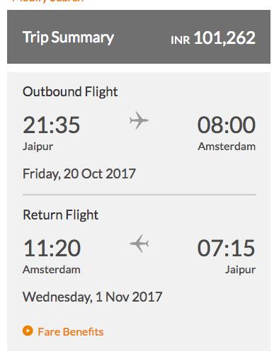 Jaipur Amsterdam return fares Premiere