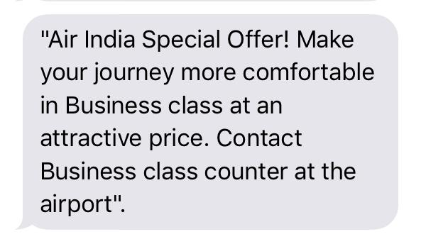 AirIndia Upgrade Offer