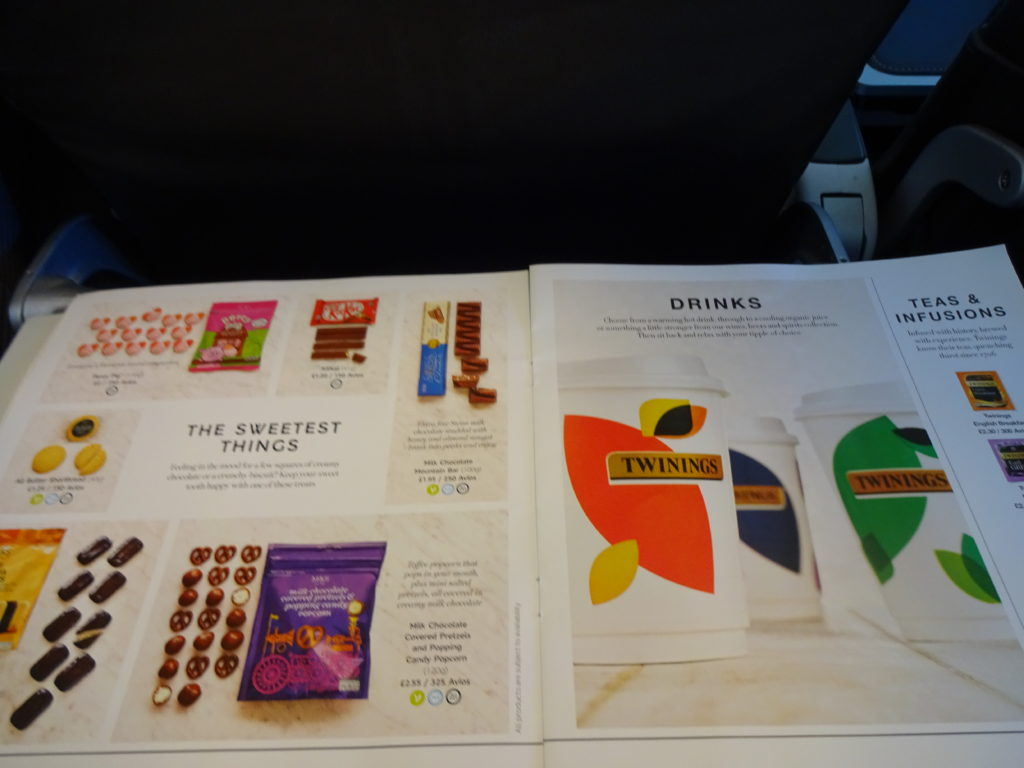 Confectionary & Hot Beverages Menu British Airways Buy on Board