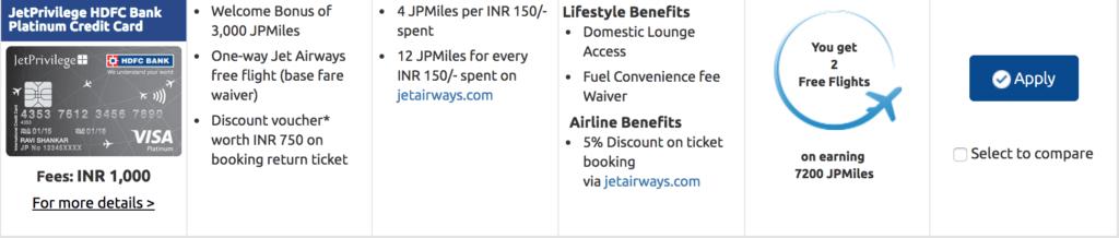 JetPrivilege HDFC Bank Platinum Credit Card