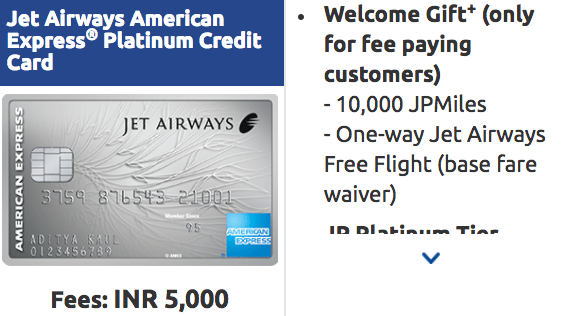 Best Credit Cards in India: Jet Airways American Express Platinum Credit Card