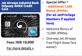 Jet Airways IndusInd Bank Odyssey Amex Credit Card