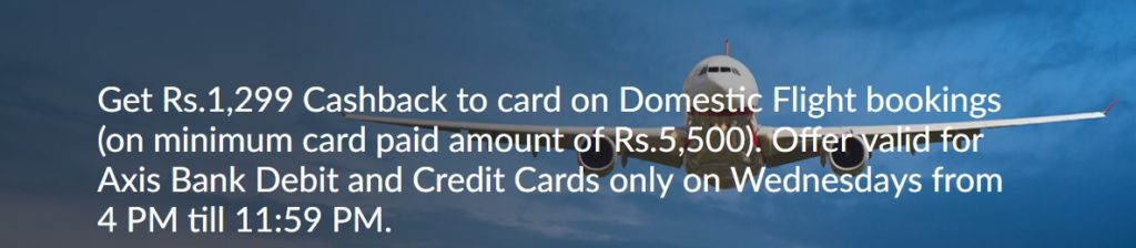 flight discount MakeMyTrip Axis