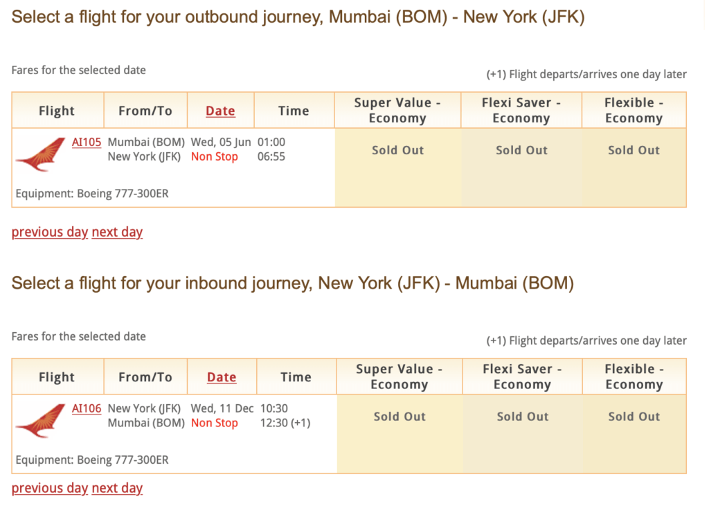 Air India Mumbai to JFK direct flight has closed reservations for good. - Live from a Lounge