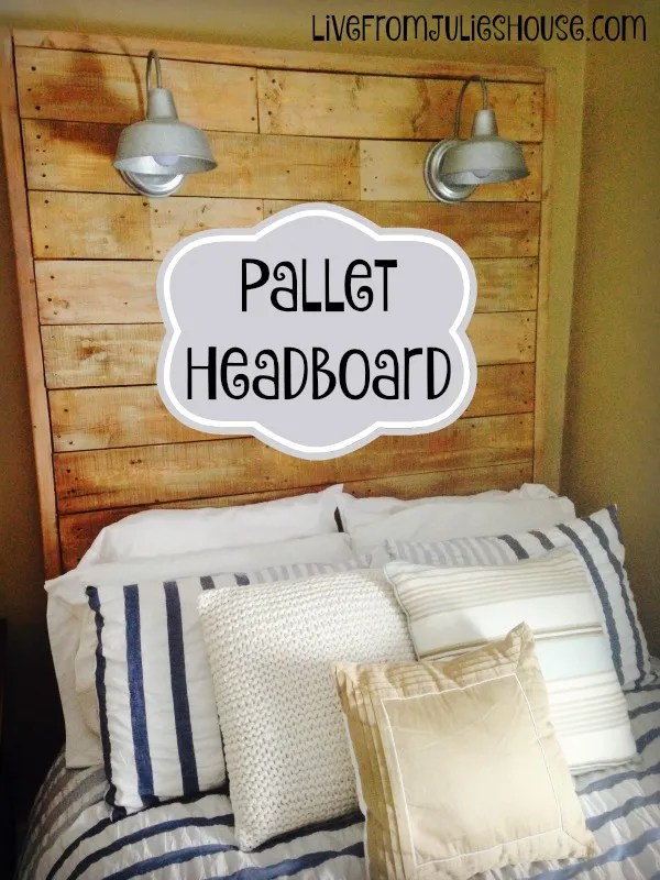 Pallet headboard with Galvanized Lights - We made this huge DIY pallet headboard with galvanized sconces and a dimmer for just $60