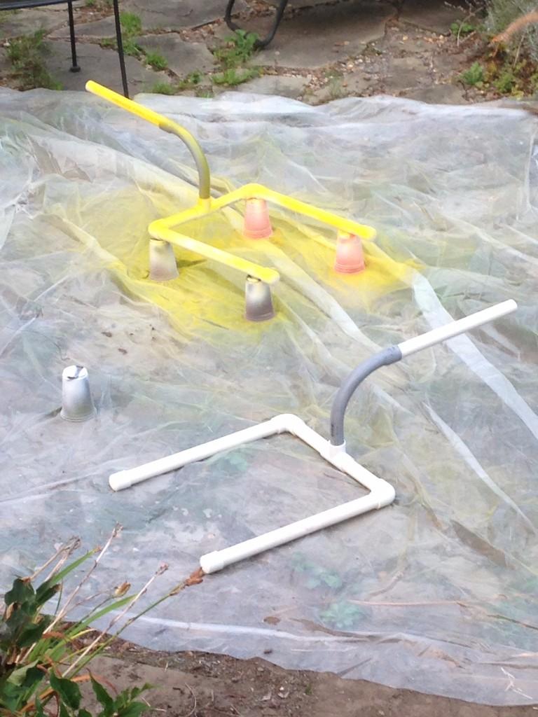Spray painting PVC Goal Post
