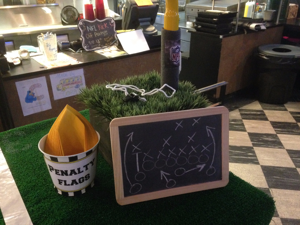 PVC Goal Post with Penalty Flag Bucket and Coaches chalkboard