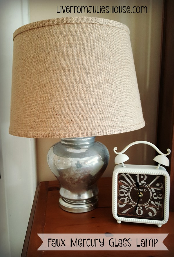 Mercury Glass Lamp with burlap shade - Transform a thrift store lamp with an easy faux mercury glass finish