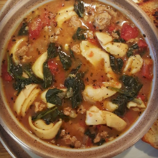 My New Favorite Soup – Tortellini, Spinach & Turkey Sausage