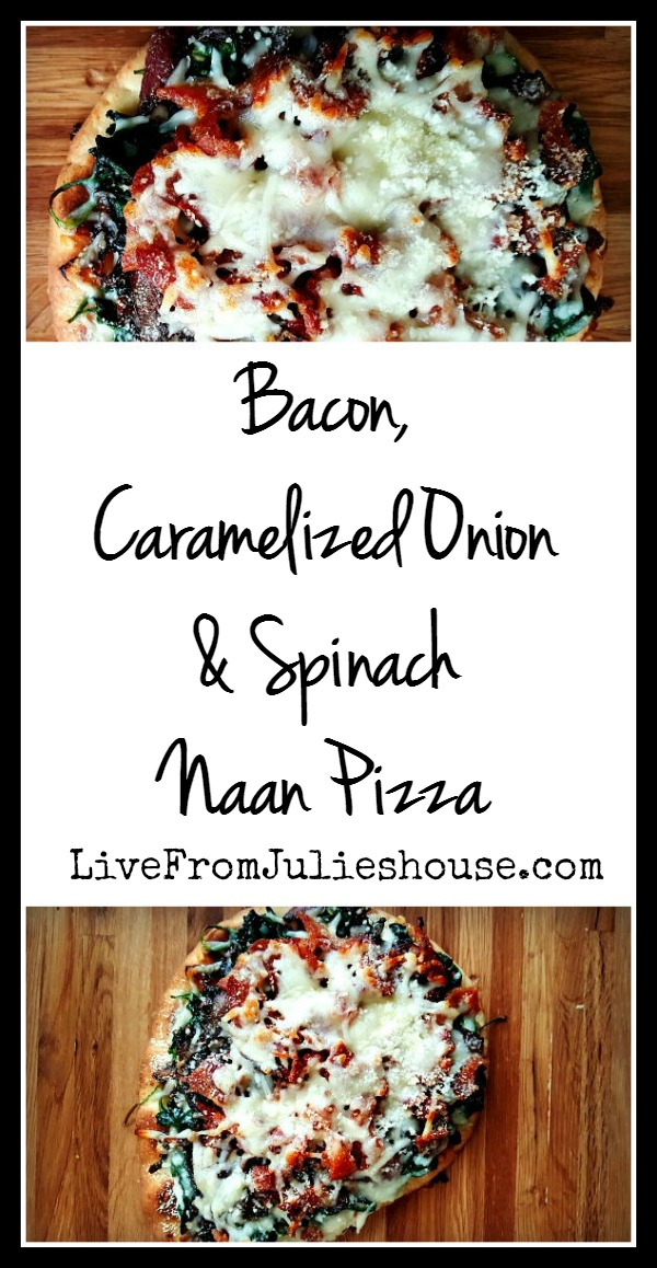 Bacon, Onion & Spinach Naan pizza - Elevate your pizza game with this decadent Naan bread pizza
