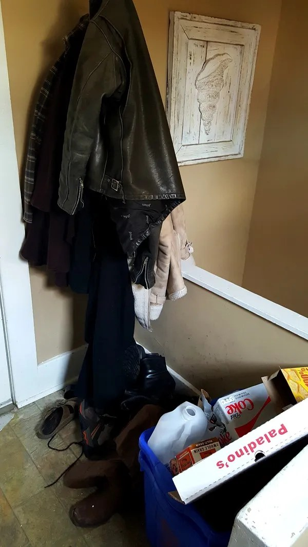 Messy mudroom area